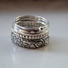 Five Sterling Silver Rings in a Stack by tinahdee on Etsy, $125.00