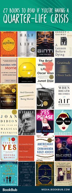 Finally one without Lena Dunham! A list of the best books to read in your if you& having a quarter-life crisis! This inspiring list includes both fiction and nonfiction. Books To Read In Your 20s, Best Books To Read, I Love Books, Good Books, My Books, Book To Read, Novels To Read, Best Novels, Amazing Books