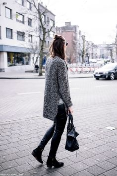 half-up top knot, side split seater, Balenciaga bag, leather pants and boots #style #fashion #winter