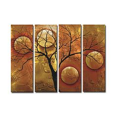Hand-painted Abstract Oil Painting with Stretched Frame - Set of 4 - Free shipping