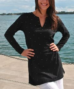 Look what I found on #zulily! Black Crystal Tunic - Women by Yes World Boutique #zulilyfinds