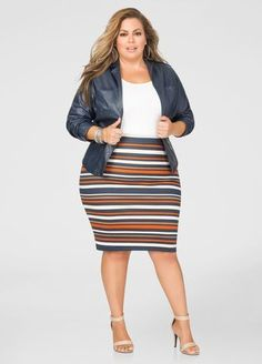 Plus Size Striped Ponte Pencil Skirt
