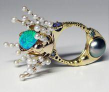 Cereus   Kinetic Rings Collection © 14k gold, opal, tanzanite, blue diamonds, pearls, Claudio Pino