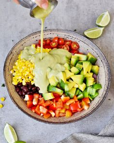 Creamy Mexican Avocado Salad which is perfect for lunch or as a side dish for dinner. This recipe is vegan, healthy, oil-free, gluten-free & easy to make. Corn Avocado Salad, Avocado Salad Recipes, Avocado Dressing, Delicious Vegan Recipes, Vegetarian Recipes, Healthy Recipes, Dinner Salads, Dinner Dishes, Main Dishes