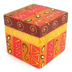 Hand-Painted Cube Candle - Bongazi Design Handmade and Fair Trade. This colorful candle features a cube shape, which is hand-painted by artisans in South Africa. Each candle is 2.75 inches square. Candles for spa | candles ideas decoration | candles ideas decoration home decor | candles ideas decoration for living room | candles ideas decoration for bedroom | candles ideas decoration for spa | candles ideas decoration crafts | candles ideas decoration centerpieces