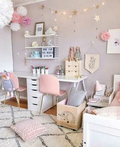 Inspiring Girls' Bedroom Ideas Feeling inspired to change the decor of your daughter's room? Check out our favorite girls' room ideas.Feeling inspired to change the decor of your daughter's room? Check out our favorite girls' room ideas. Cute Bedroom Ideas, Girl Bedroom Designs, Girls Bedroom Colors, Design Bedroom, Pretty Bedroom, Girls Bedroom Accessories, Bedroom Themes, Girls Room Design, Girls Bedroom Ideas Paint