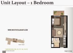 Denah unit #1BR #apartemenwestvista
