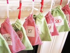 hanging garland advent calendar- sew little bags for each day