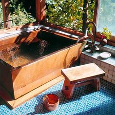 Typical Japanese bath made by East Wind Inc. Typical Japanese bath made by East Wind Inc. Traditional Japanese House, Traditional Bathroom, Japanese Homes, Diy Bathroom Decor, Small Bathroom, Bathroom Ideas, Bathtub Ideas, Bathroom Renovations, Bathroom Designs