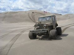 West of Ashton ID.| VIA NW.of Parker ID. The DUNES| in a willys jeep