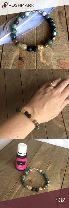 Natural Gemstone Diffuser Bracelet Handmade with natural 8mm Indian Agate, Citrine and black Lava. Handmade Jewelry Bracelets