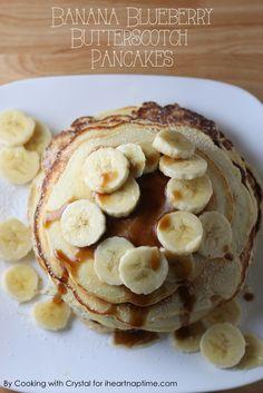 Banana Blueberry Butterscotch Pancakes