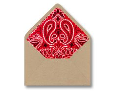 Printable Envelope Liner Template - Red Bandana Paisley DIY Wedding Kids Party Invitations Stationary - Instant Digital Download - Multiple Sizes