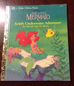 Disney Little Golden Book - Walt Disney's The Little Mermaid Ariel's Underwater Adventure - 1980's Vintage Children's Book on Etsy, $4.50