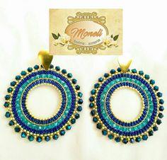Bead Loom Patterns, Beaded Jewelry Patterns, Bead Earrings, Crochet Earrings, Craft Accessories, Imitation Jewelry, Beading Tutorials, Loom Beading, Bead Weaving