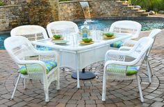 Tortuga Outdoor Portside 7 Piece Wicker Dining Set - White with Haliwell caribbean Cushions