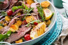 Warm barbecued lamb and rocket salad