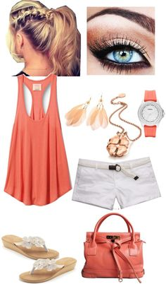 Coral and white summer outfit