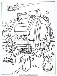 Coloring web page Rubbish truck - Rubbish collectors - Kleurplaten. Truck Coloring Pages, Colouring Pages, Coloring Books, Science Activities, Preschool Activities, Coloring Pages For Kids, Adult Coloring, Garbage Truck Party, Community Helpers Worksheets