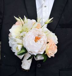 wedding bouquet artificialflower poney rose by Wendyslife on Etsy, $56.00