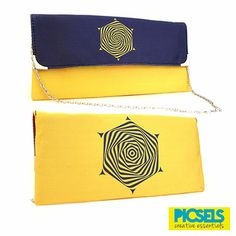 Psychedelic Flower clutch: Blue & Yellow. For details and orders please email us at picselsce@gmail.com