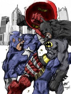 Captain America VS Batman- they are fighting over Wonder Woman :)
