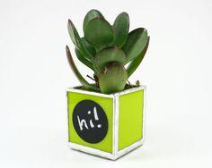 Lime Green Glass Plant Holder, Small Plant Pot, Succulent Planter, Plant Container, Geometric Planter, Little Planter, Herb Planter