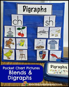 Pocket Chart Pictures for Blends and Digraphs and more!  Great for centers or for small group instruction.