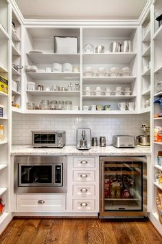 Butler pantry with ugly space-sucker microwave and mini frig. This is pretty similar size to our pantry, too. Butler Pantry, New Kitchen, Kitchen Decor, L Shape Kitchen, Kitchen Pantry Design, Kitchen Layouts, Smart Kitchen, Kitchen Modern, Updated Kitchen