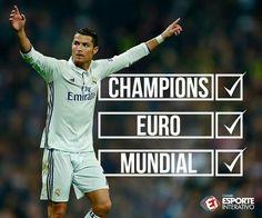 UEFA Champions League:  EURO 2016:  Mundial:   O ano do Cristiano Ronaldo foi fraco!