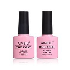 AIMEILI Soak Off UV LED Gel Nail Polish - Base and Top Coat Kit Set * To view further for this item, visit the image link. (This is an affiliate link) Gel Nails At Home, Manicure At Home, Uv Gel Nails, Gel Nail Polish, Manicure And Pedicure, Top Coat Nail Polish, Gel Top Coat, Base Coat, Pretty Nails