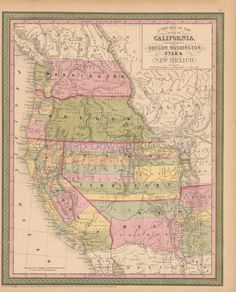 California Oregon Old Map Mitchell Cowperthwait 1853 Digital Image Scan Download Printable - Old Map Downloads