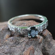 Textured square band silver ring with spinal gemstone