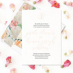 Blush Pink Calligraphy Wedding Invitation -  affordable, customizable wedding invitations