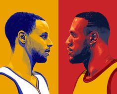 Stephen Curry vs LeBron James Illustration