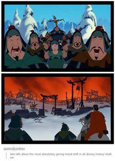 Mulan was the first Disney film to ever openly address warfare. Disney Pixar, Disney Diy, Disney Animation, Disney And Dreamworks, Disney Love, Disney Magic, Disney Stuff, Disney Humor, Disney Funny Tumblr