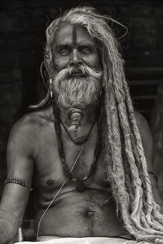sadhu~his hair!, beard!, face paint!, jewelry~all divine!  gorgeous, all knowing eyes~
