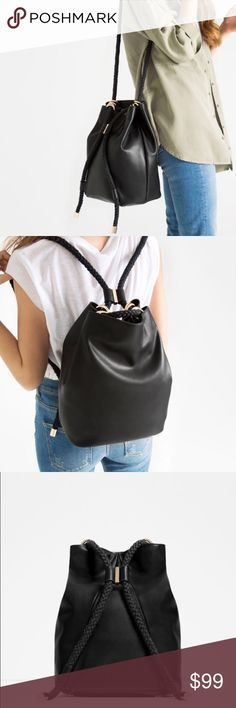 """RARE ZARA Convertible Shoulder bag / Backpack Brand new with tags, never used. SOLD OUT EVERYWHERE! 2 in 1 bag, bucket bag that converts into a backpack also! Lined. 12.5"""" x 9.4"""" x 7"""". Zara Bags Backpacks"""