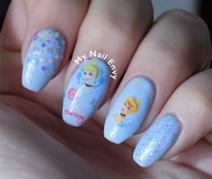 Blue Cinderella Nails – My Nail Envy #bluenails #cinderella #disneynails #girlynails #glitter #glitterplacement #nailart #princessnails #transferfoils #waterdecals