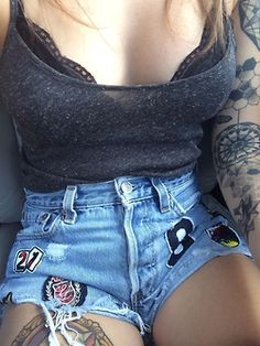 Love patched denim