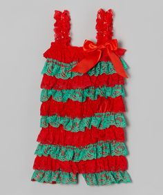Take a look at this Red & Green Mistletoe Lace Romper - Infant on zulily today!