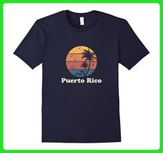Mens Retro Puerto Rico T Shirt Vintage Sunset & Palm Trees Design XL Navy - Retro shirts (*Amazon Partner-Link)