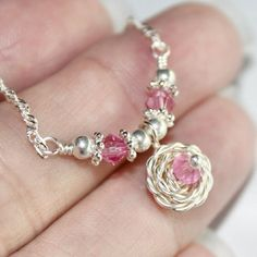 Silver Wire Wrapped Rose Necklace w Pink Crystal in Special Heart Gift Box by Maru Jewelry Designs