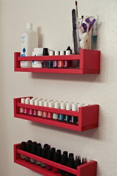 Spice racks as storage solution for nail polish, $4 each from Ikea plus paint
