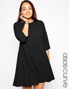 Bild 1 von ASOS CURVE – Ausgestelltes Kleid mit abgenähten Bahnen und langen Ärmeln