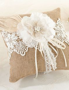 Burlap & Lace Rustic Ring Bearer Pillow complements a rustic wedding theme very nicely. Find other burlap ring bearer pillows and a variety of rustic wedding accessories. Ring Bearer Pillows, Ring Pillows, Burlap Pillows, Throw Pillows, Accent Pillows, Burlap Projects, Burlap Crafts, Lillian Rose, Lace Ring