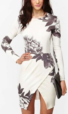 White Long Sleeve Random Floral Print Wrap Dress. I wonder if I can sew one like this.