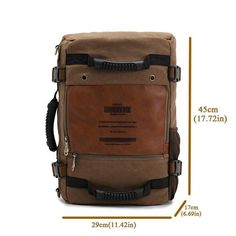 4974279b7443e KAUKKO Men s Multifunctional Canvas Backpack. Schultertasche HerrenLederNotebook  ...