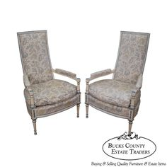 Vintage French Hollywood Regency Style Painted High Back Fauteuil Arm Chairs #HollywoodRegency