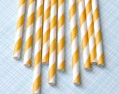 Yellow Striped Paper Straws with DIY Flags (25)